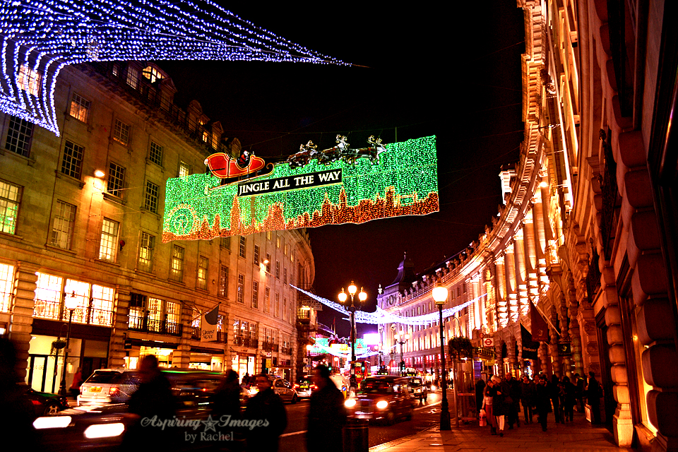 London Christmas Lights on Regent Street to Picadilly Circus via Aspiring Images by Rachel