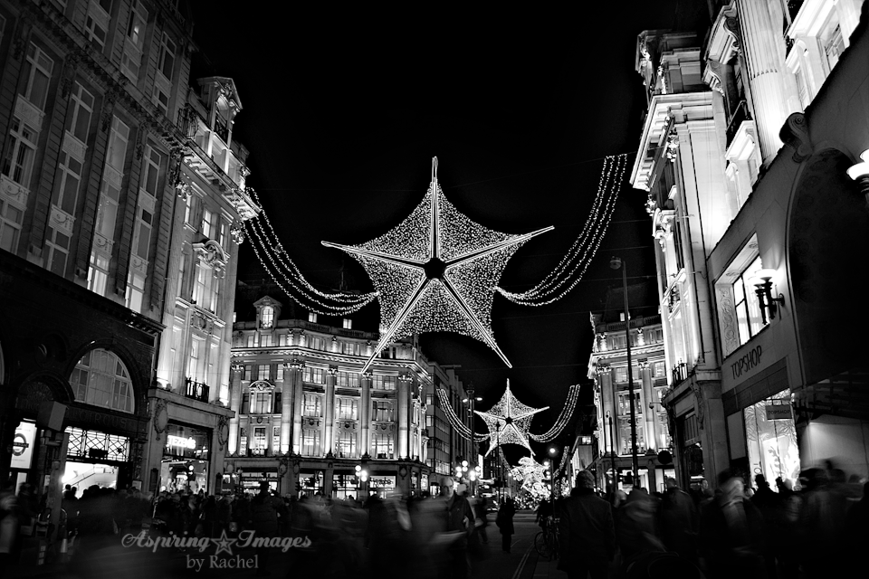 London Christmas Lights on Oxford Street in black and white via Aspiring Images by Rachel