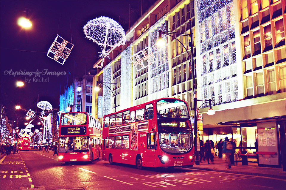 London Christmas Lights and Classic Red Buses via Aspiring Images by Rachel