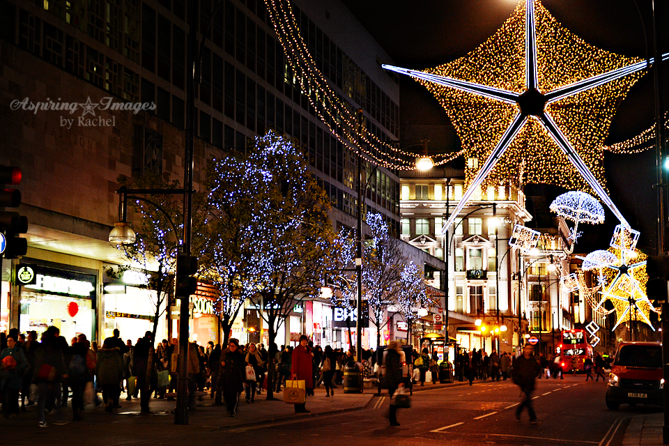 London Christmas Lights on Oxford Street via Aspiring Images by Rachel