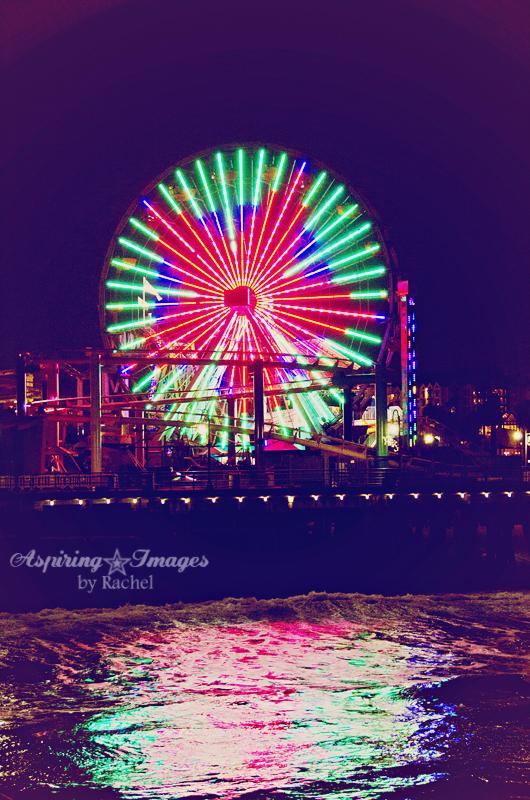 California - Santa Monica Pier Ferris Wheel by Aspiring Images by Rachel