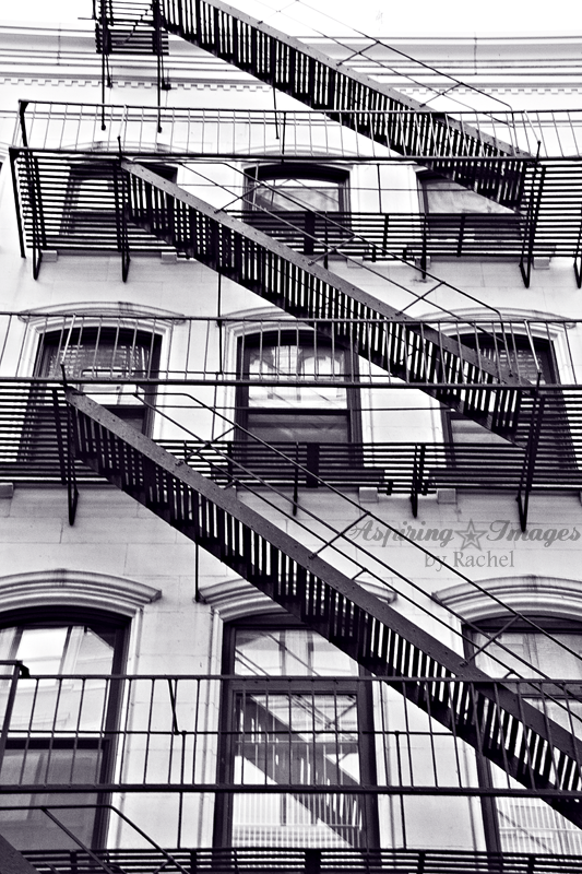 NYC Fire Escape BW by Aspiring Images by Rachel